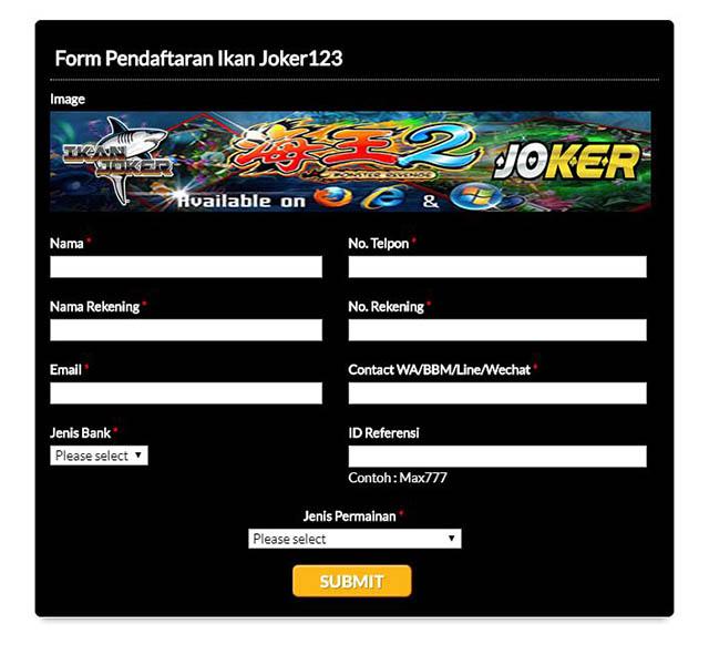 Form Daftar Ikan Joker123
